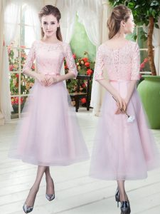 Hot Selling Baby Pink Lace Up Prom Gown Belt Half Sleeves Ankle Length