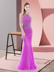 Attractive Sleeveless Beading Backless Prom Gown with Lilac Brush Train