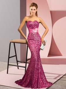 Fantastic Sweetheart Sleeveless Prom Gown Sweep Train Beading Pink Sequined