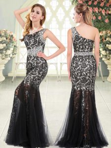 Exquisite One Shoulder Sleeveless Tulle Dress for Prom Beading and Lace Zipper