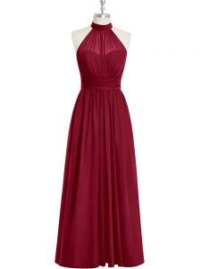 Cute Floor Length Burgundy Prom Evening Gown Chiffon Sleeveless Ruching
