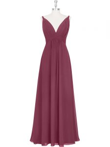 Ruching and Pleated Prom Gown Burgundy Backless Sleeveless Floor Length