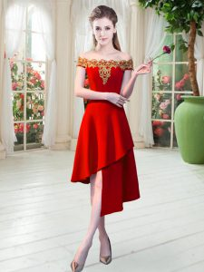 Comfortable Red A-line Satin Off The Shoulder Sleeveless Appliques Asymmetrical Zipper Dress for Prom