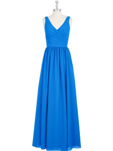 Ruching Prom Party Dress Royal Blue Zipper Sleeveless Floor Length