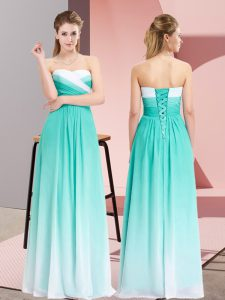 Sexy Turquoise Empire Sweetheart Sleeveless Chiffon Floor Length Lace Up Ruching Prom Dresses