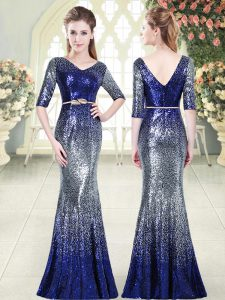 V-neck Half Sleeves Zipper Dress for Prom Royal Blue Sequined