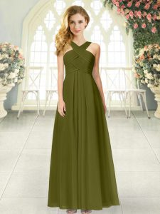 Top Selling Olive Green Straps Zipper Ruching Prom Evening Gown Sleeveless