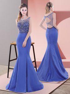 Best Selling Mermaid Sleeveless Blue Prom Gown Sweep Train Lace Up