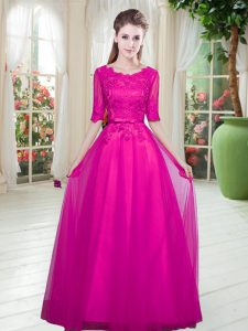 Perfect Scoop Half Sleeves Tulle Prom Evening Gown Lace Lace Up