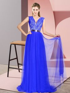Glamorous Sleeveless Tulle Sweep Train Zipper Prom Evening Gown in Royal Blue with Beading and Lace