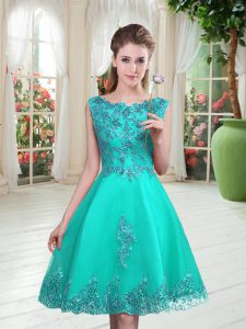 Most Popular Beading and Appliques Prom Dress Turquoise Lace Up Sleeveless Knee Length