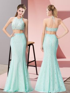 Sweet Apple Green Sleeveless Lace Backless Prom Dress for Prom and Party and Military Ball