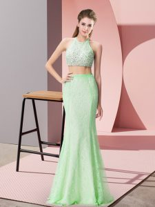 Glamorous Floor Length Apple Green Dress for Prom Halter Top Sleeveless Backless