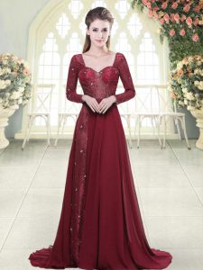 Burgundy Chiffon Zipper Sweetheart Long Sleeves Homecoming Dress Brush Train Beading and Appliques