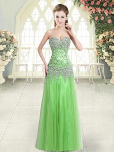 Sweetheart Sleeveless Tulle Homecoming Dress Beading Zipper