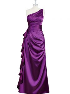 New Arrival One Shoulder Sleeveless Prom Evening Gown Floor Length Beading and Ruching and Pleated Purple Elastic Woven Satin