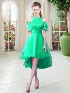 Lace Prom Dresses Turquoise Zipper Short Sleeves High Low