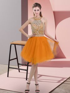 Elegant Orange Two Pieces Organza Halter Top Sleeveless Beading Knee Length Backless Prom Party Dress