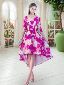 Cheap Scoop Half Sleeves Lace Up Homecoming Dress Fuchsia Lace