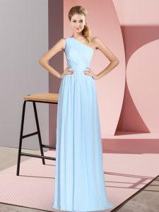 Custom Fit Blue Empire Chiffon One Shoulder Sleeveless Ruching Floor Length Lace Up Evening Dress