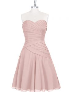 Enchanting Pink A-line Sweetheart Sleeveless Mini Length Zipper Ruching and Pleated Celeb Inspired Gowns