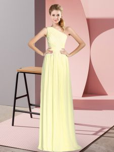 Graceful Sleeveless Lace Up Floor Length Ruching Homecoming Dress