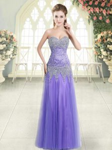 High End Sleeveless Zipper Floor Length Beading Evening Dress