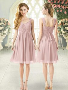 Hot Sale Straps Sleeveless Lace Up Prom Gown Pink Chiffon