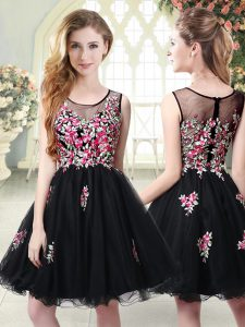Sleeveless Mini Length Embroidery Zipper Dress for Prom with Black