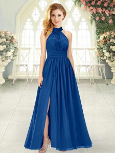 Adorable Chiffon Sleeveless Ankle Length Prom Evening Gown and Ruching