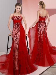 Sleeveless Satin Sweep Train Lace Up Prom Dresses in Red with Beading and Lace