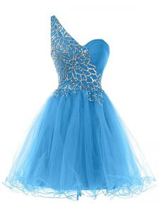 Pretty Beading Prom Evening Gown Blue Lace Up Sleeveless Mini Length