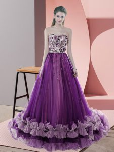 Admirable Purple Dress for Prom Prom and Party and Military Ball with Appliques Sweetheart Sleeveless Sweep Train Lace Up