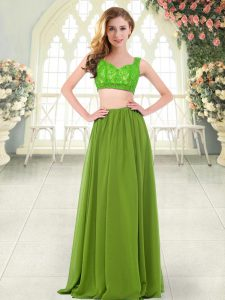 Fitting Sleeveless Zipper Floor Length Beading and Lace Prom Party Dress