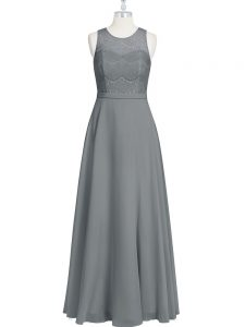 Grey Sleeveless Lace and Appliques and Belt Floor Length