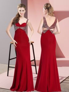 Shining Chiffon Straps Sleeveless Backless Beading Dress for Prom in Red