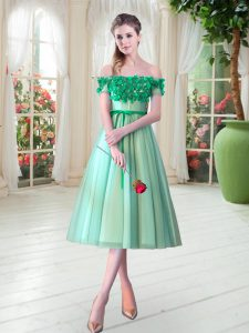 Turquoise Off The Shoulder Neckline Appliques Prom Dress Sleeveless Lace Up