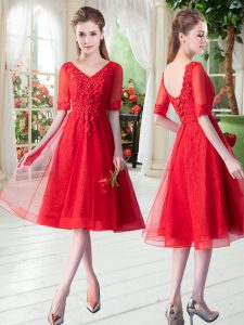 Dramatic Half Sleeves Beading and Appliques Lace Up Dress for Prom