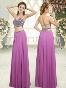 Chiffon Sweetheart Sleeveless Backless Beading Prom Dresses in Lilac