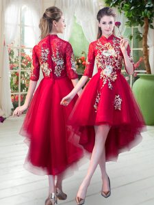 Fabulous High Low Red Prom Gown High-neck Half Sleeves Zipper