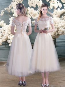Dramatic White Tulle Lace Up Dress for Prom Short Sleeves Tea Length Lace