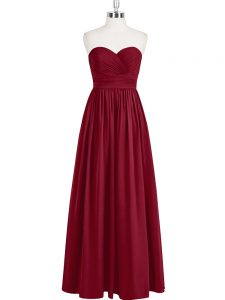 Affordable Floor Length Zipper Celebrity Prom Dress Wine Red for Prom and Party and Military Ball with Pleated