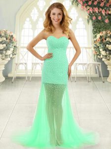 Apple Green Tulle Zipper Prom Evening Gown Sleeveless Brush Train Beading