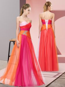 Sleeveless Floor Length Beading Lace Up Homecoming Dress with Multi-color