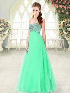 Apple Green Sweetheart Neckline Beading Sleeveless Lace Up
