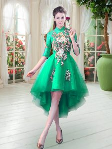 Dramatic High-neck Half Sleeves Zipper Prom Dress Turquoise Tulle