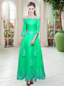 Tulle 3 4 Length Sleeve Floor Length Evening Dress and Lace