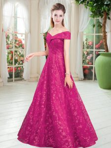 Dramatic Floor Length Lace Up Prom Dresses Fuchsia for Prom and Party with Beading