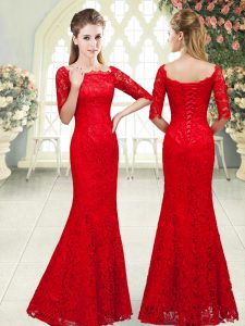 Wonderful Red Lace Up Scalloped Beading Lace 3 4 Length Sleeve