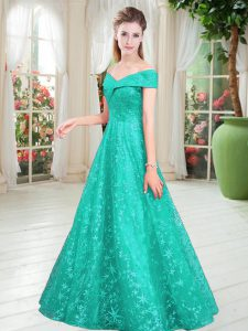 Fancy Sleeveless Floor Length Beading Lace Up with Turquoise